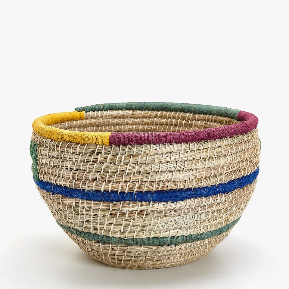d45cc5f3e Zara LARGE MULTICOLOURED JUTE BASKET