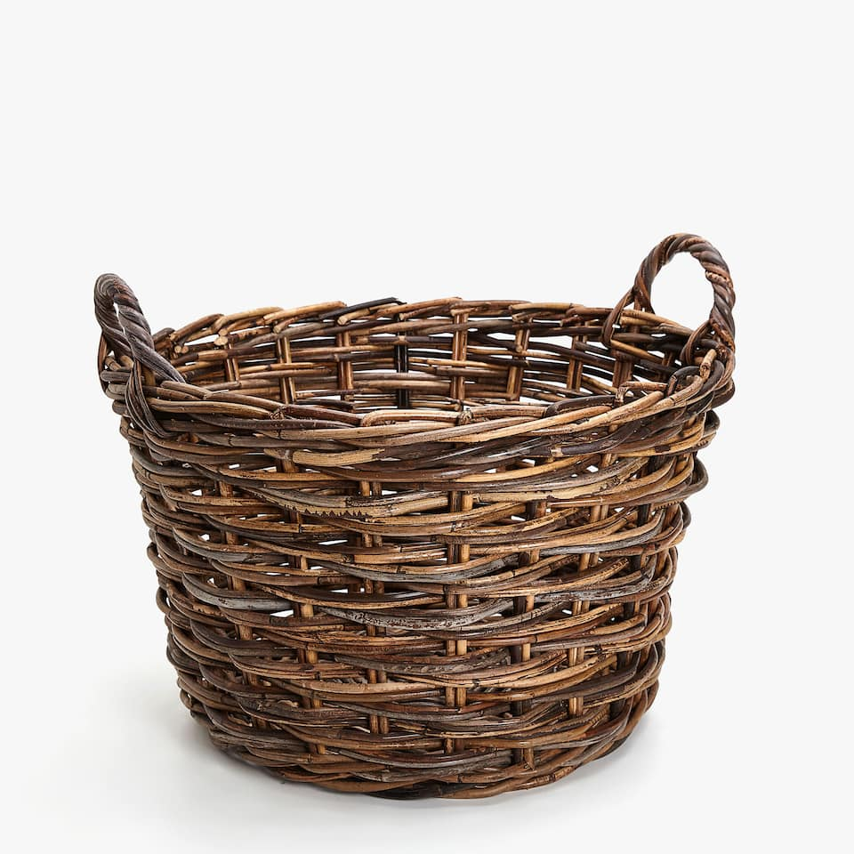a1fe59bea8212 Zara LARGE BRAIDED BASKET WITH HANDLES