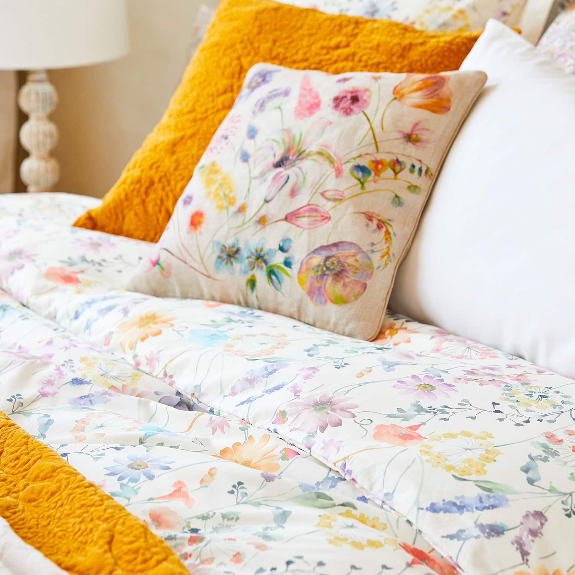 watercolour floral print duvet cover  duvet covers  bedroom  -  image  of the product watercolour floral print duvet cover