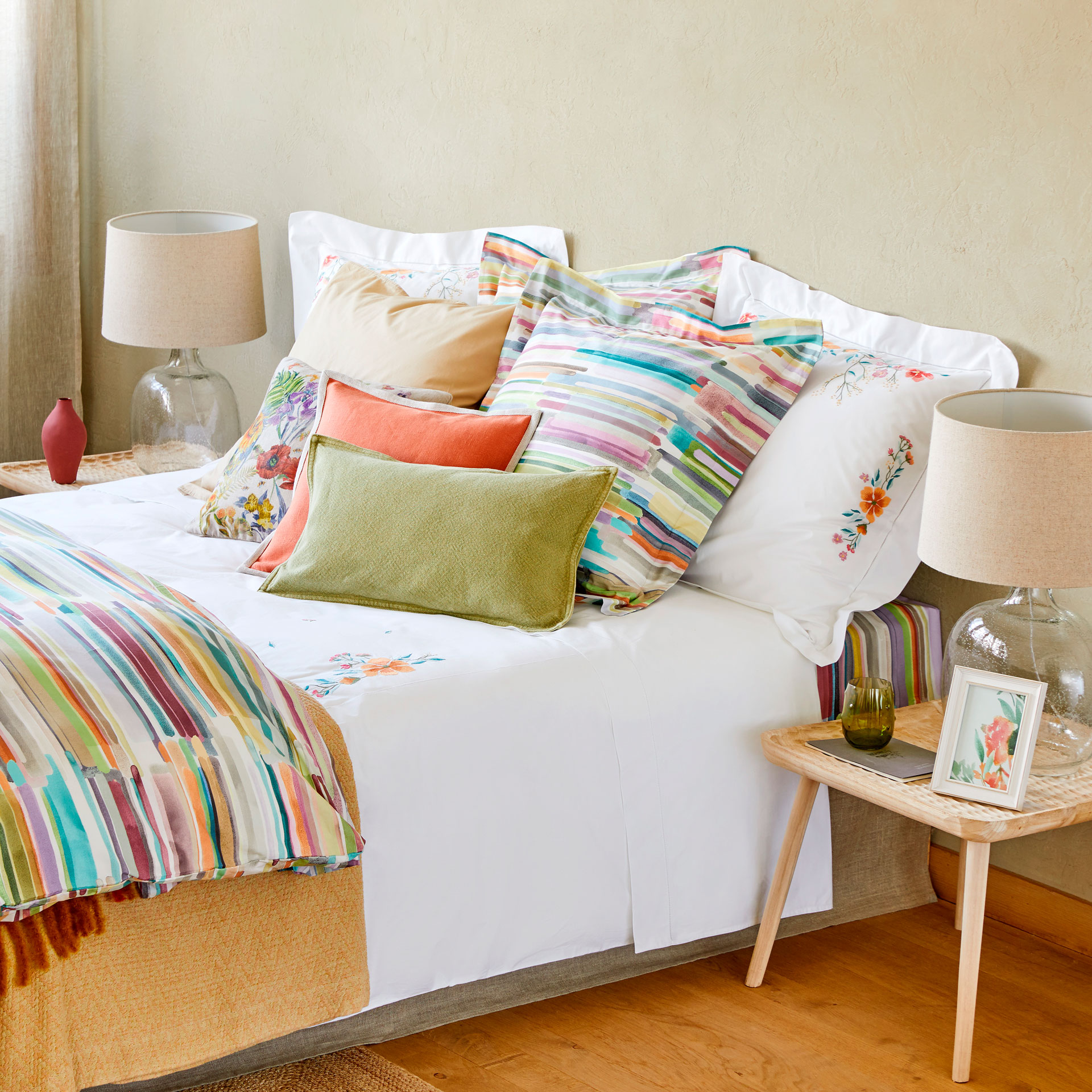 multicoloured floral embroidered duvet cover  duvet covers  -  image  of the product multicoloured floral embroidered duvet cover