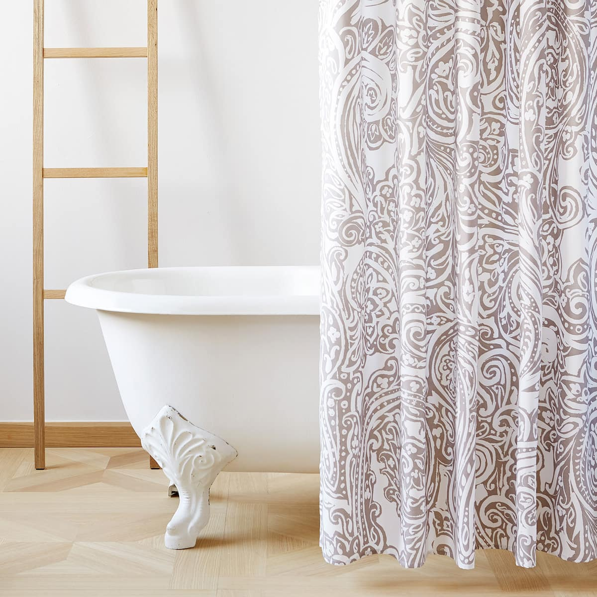 Image 1 Of The Product LARGE FLORAL DAMASK PRINT SHOWER CURTAIN