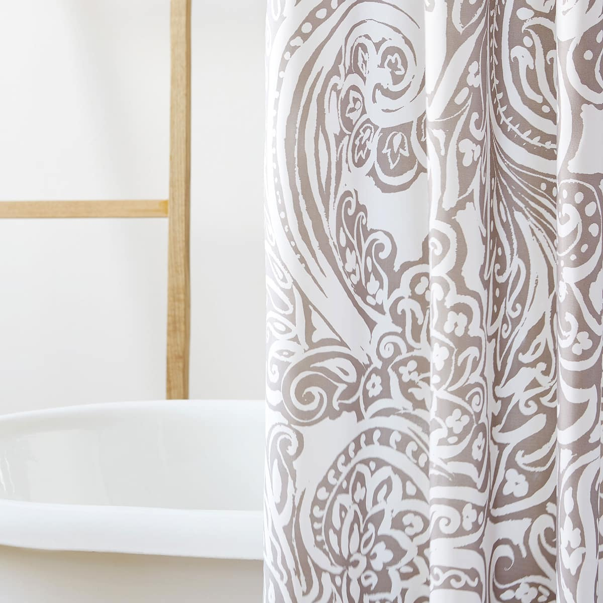 Image 2 Of The Product LARGE FLORAL DAMASK PRINT SHOWER CURTAIN