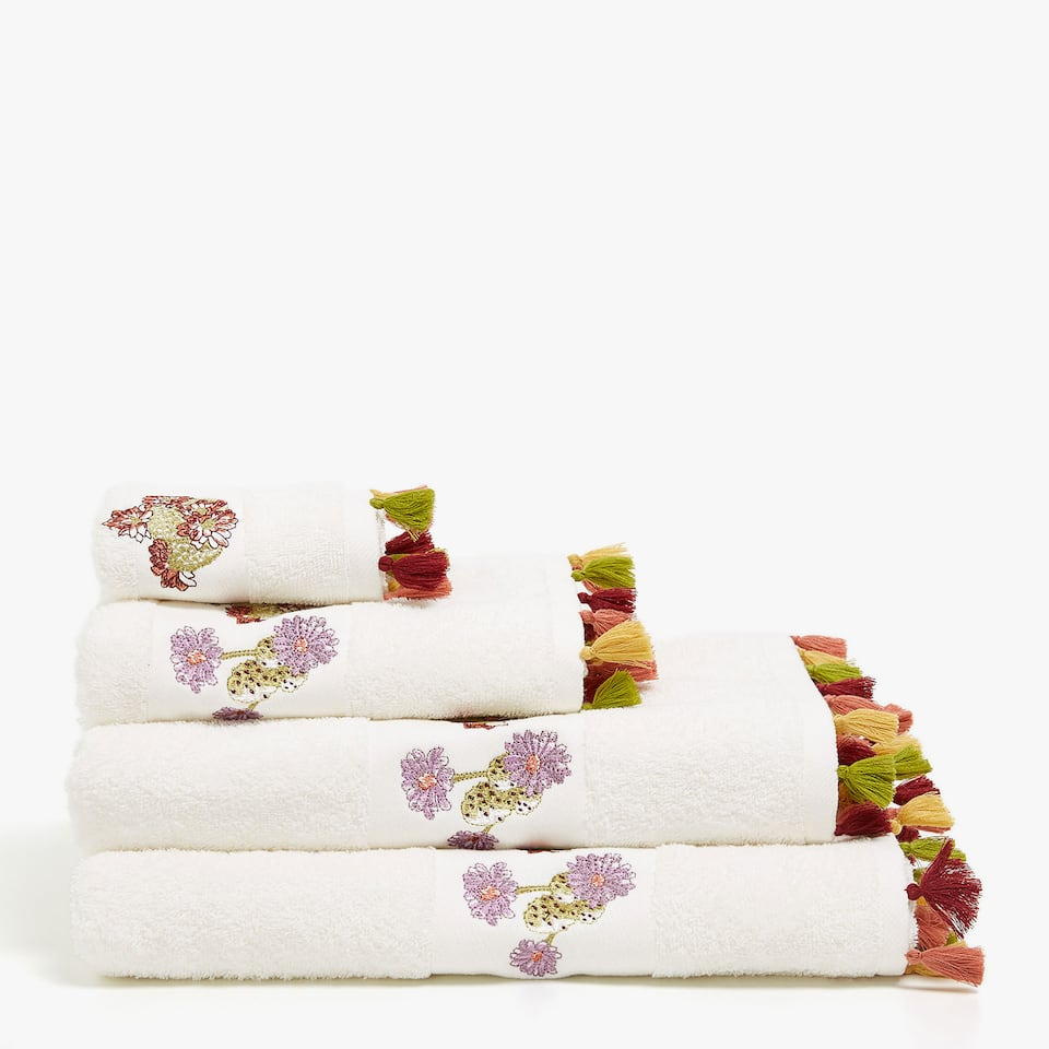 Zara EMBROIDERED COTTON TOWEL WITH TASSELS