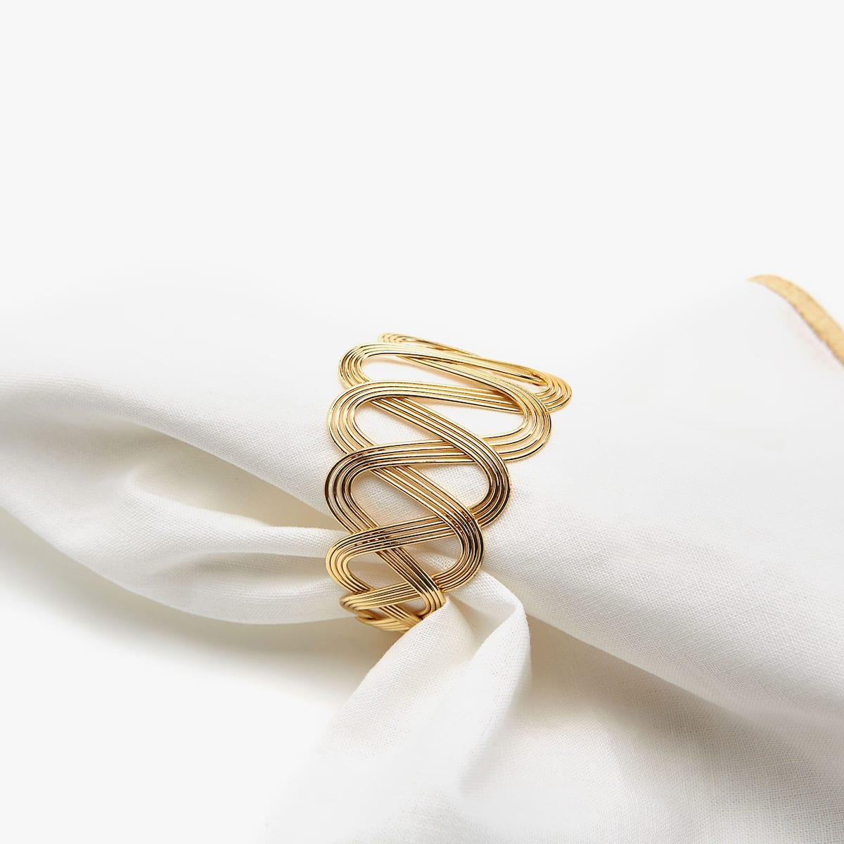 Afbeelding 3 van het product Servetringen van goudkleurig garen (set van 4)