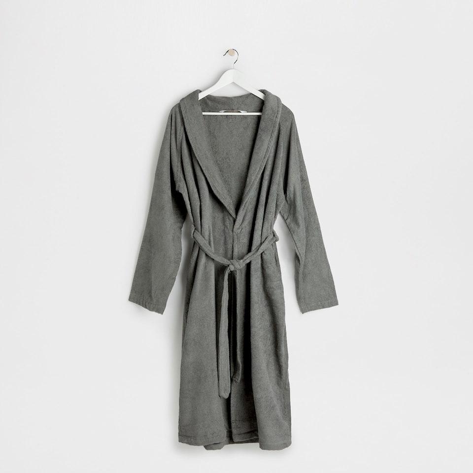 Zara Grey cotton bathrobe with lapel