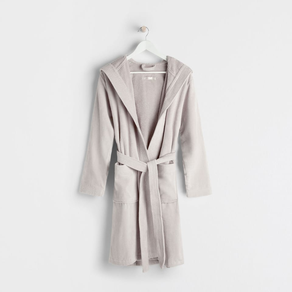 Light grey velvet cotton hooded bathrobe