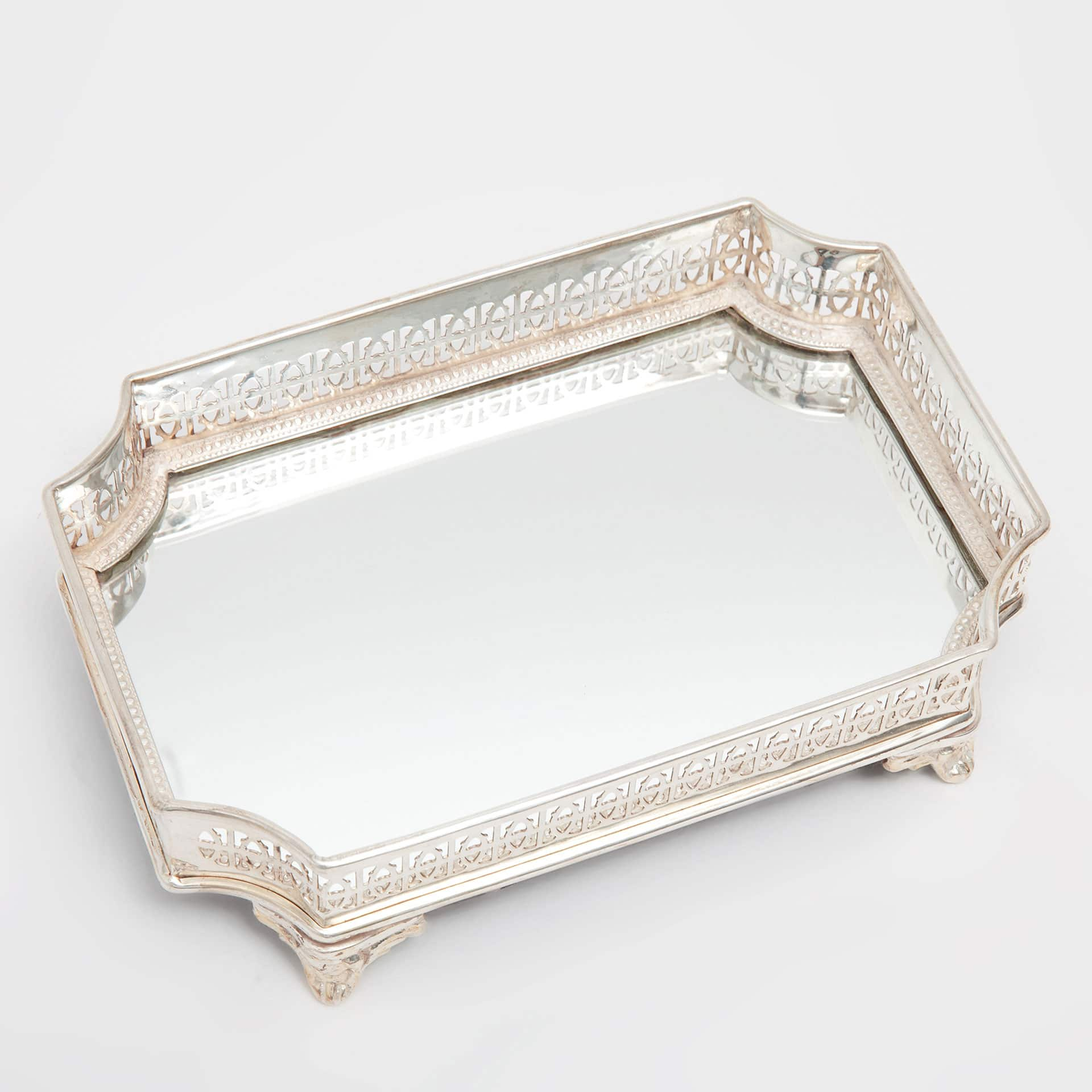 image 3 of the product metallic decorative tray with mirror base - Decorative Tray