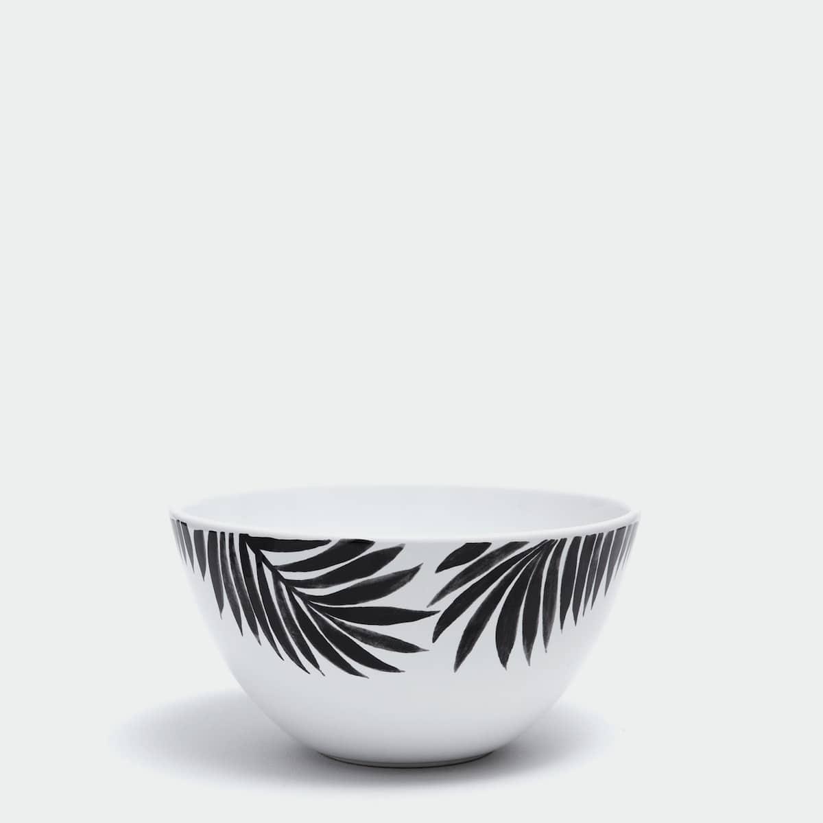 Afbeelding 1 van het product Tweekleurige aardewerken slakom met palmblad