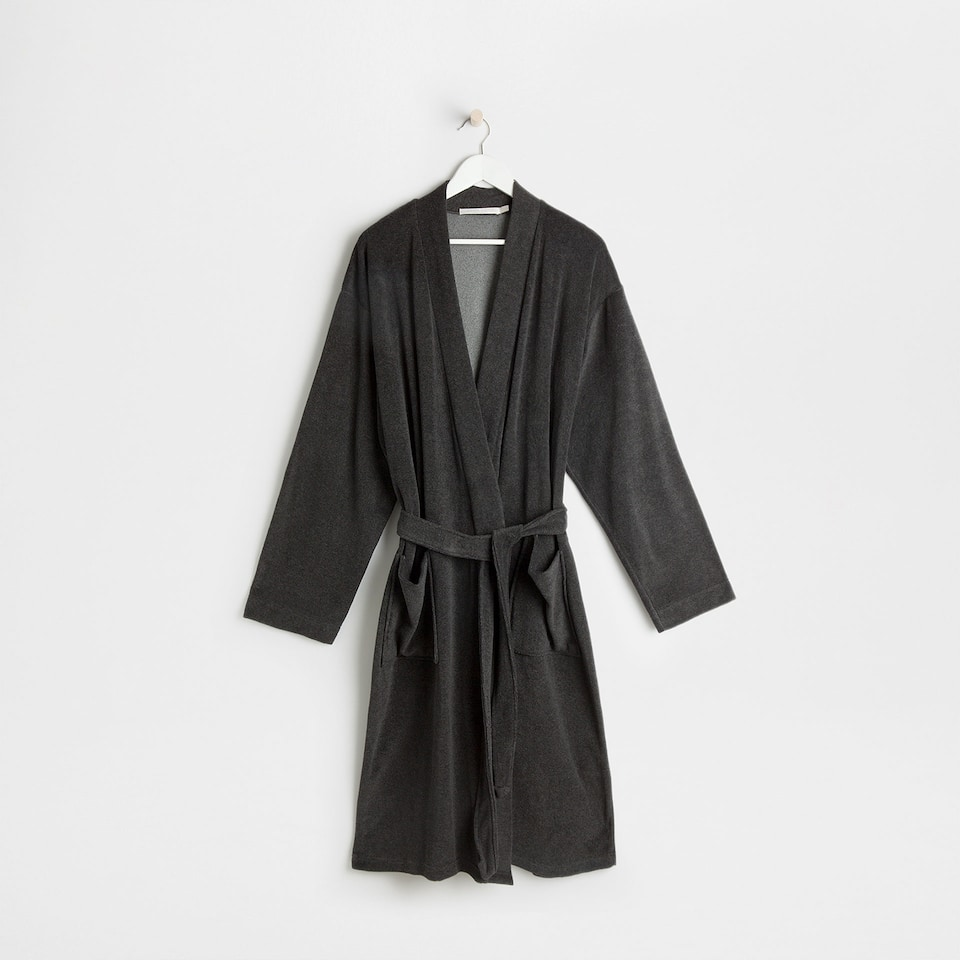 Anthracite grey cotton knit bathrobe