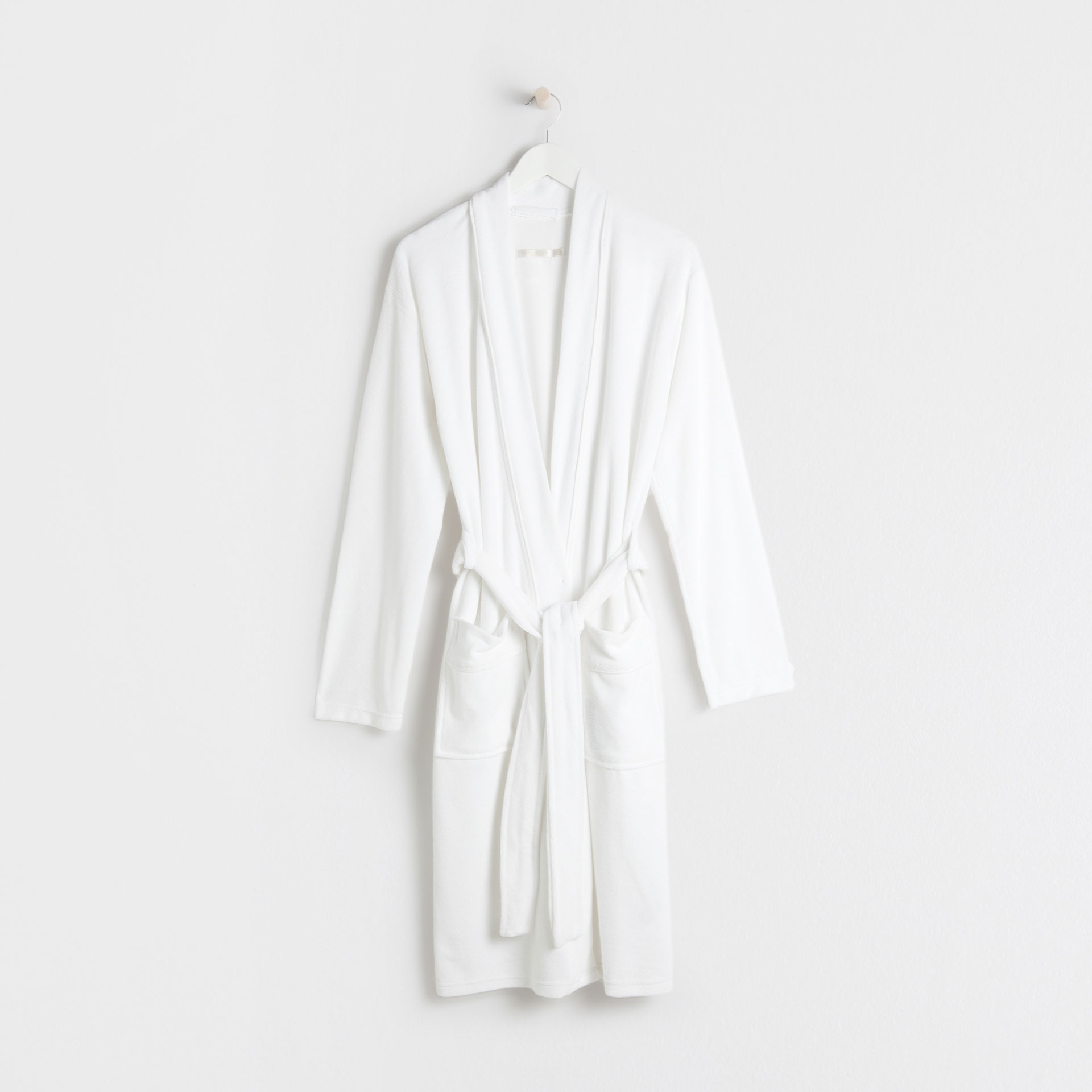 White cotton knit bathrobe with edging