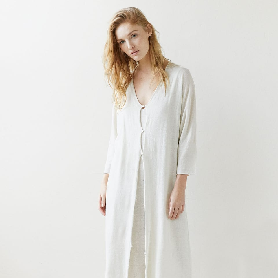 Long linen dressing gown