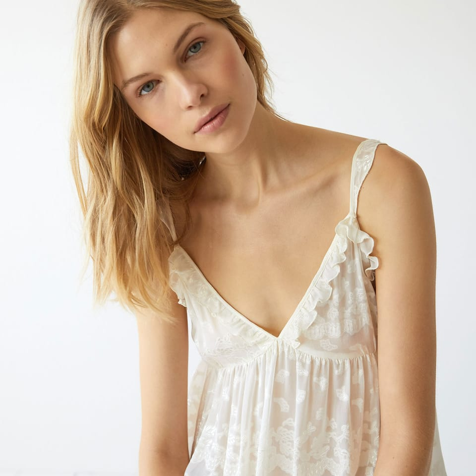 Devore silk nightdress with flounce hem