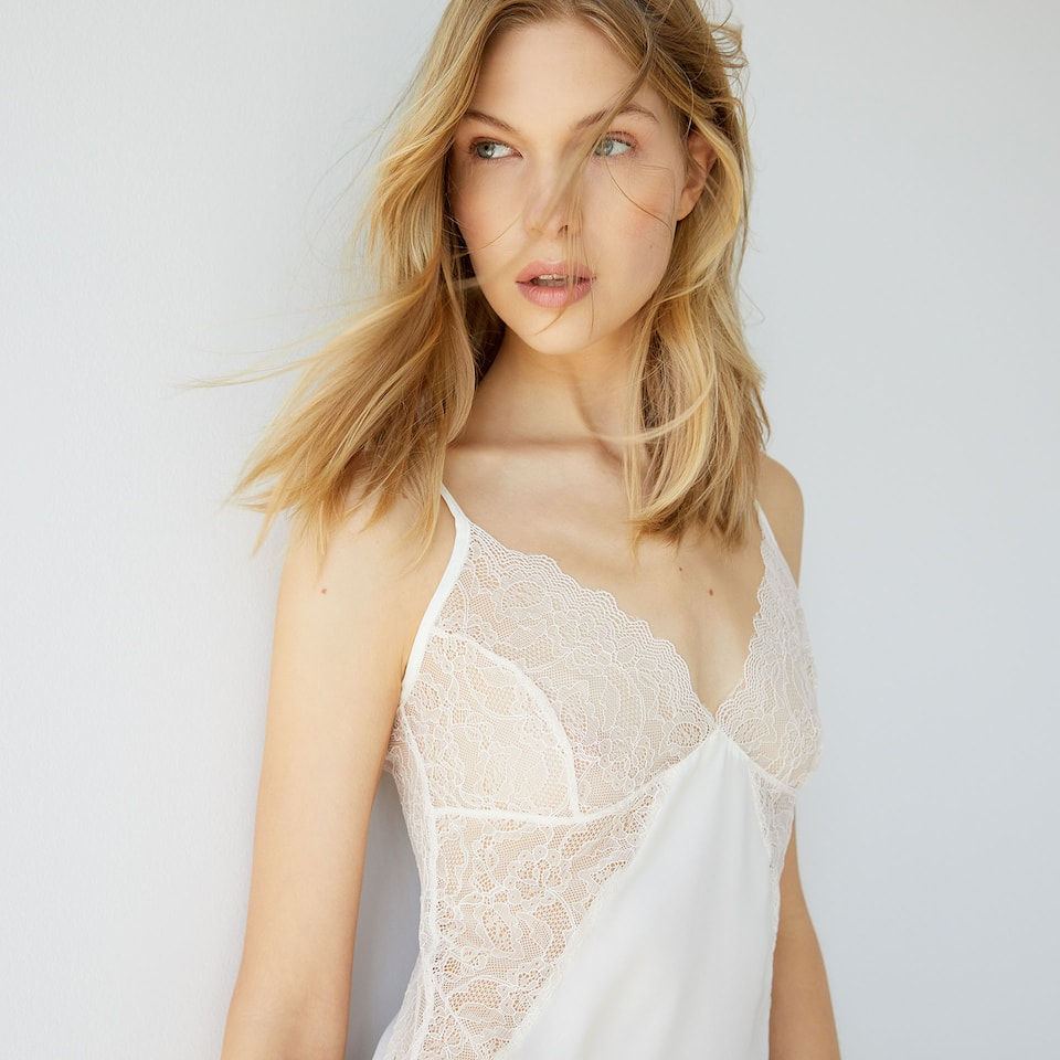 Lace detail strappy nightdress