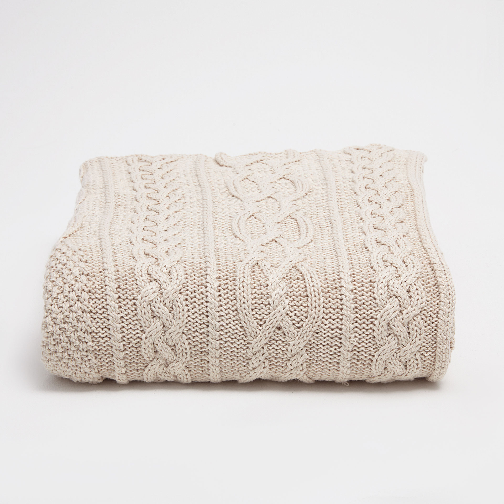image 2 of the product knit blanket with a cableknit border - Cable Knit Throw