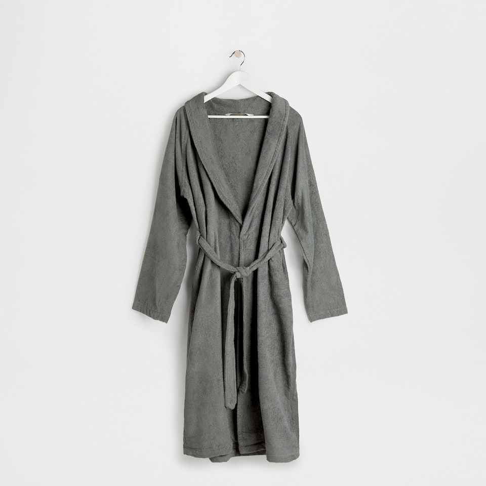 Grey cotton bathrobe with lapel