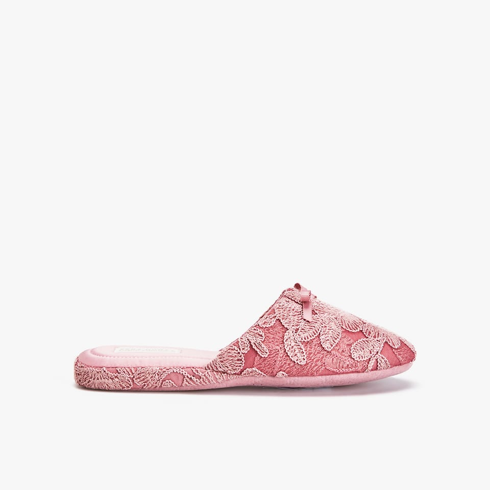 PINK LACE SLIPPERS