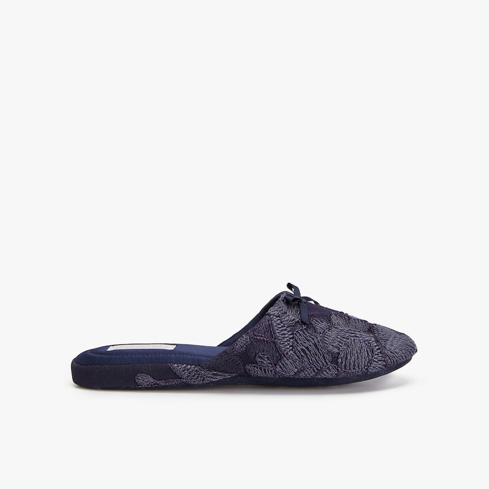 MIDNIGHT BLUE LACE SLIPPERS
