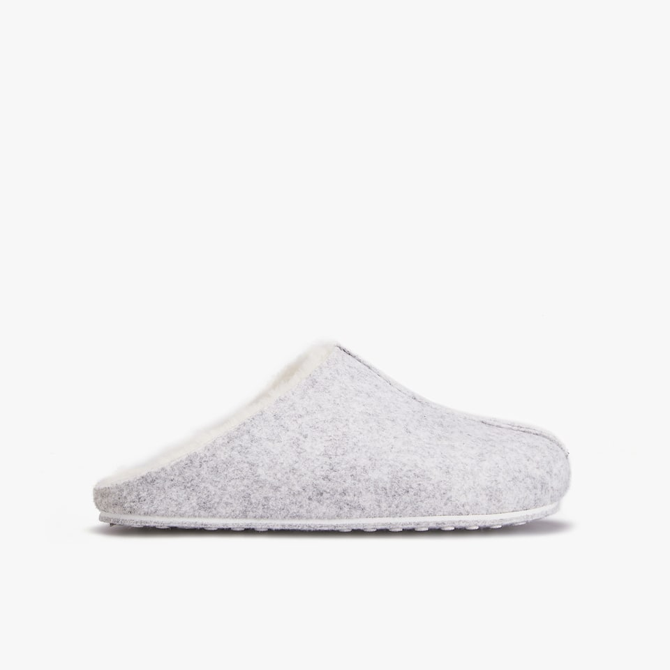 FELT MULE CLOG SLIPPERS WITH FAUX FUR LINING
