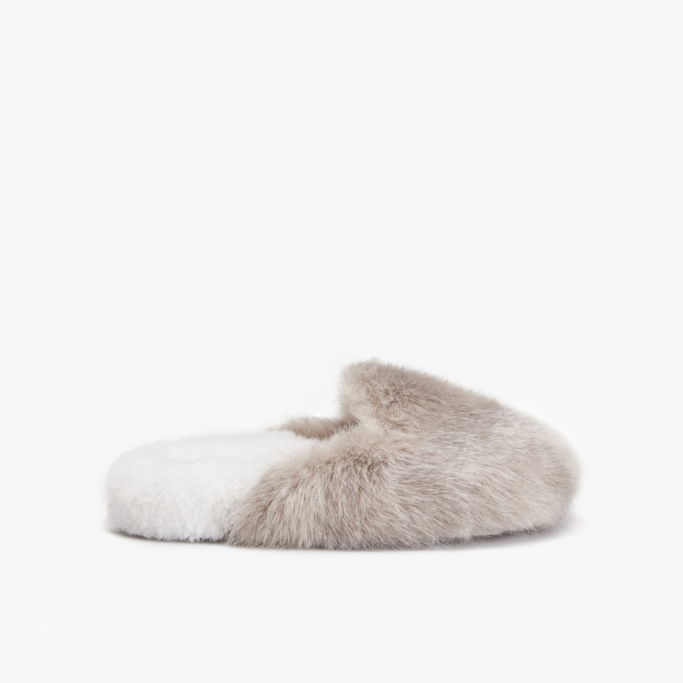 TWO-TONE FURRY CLOG SLIPPERS