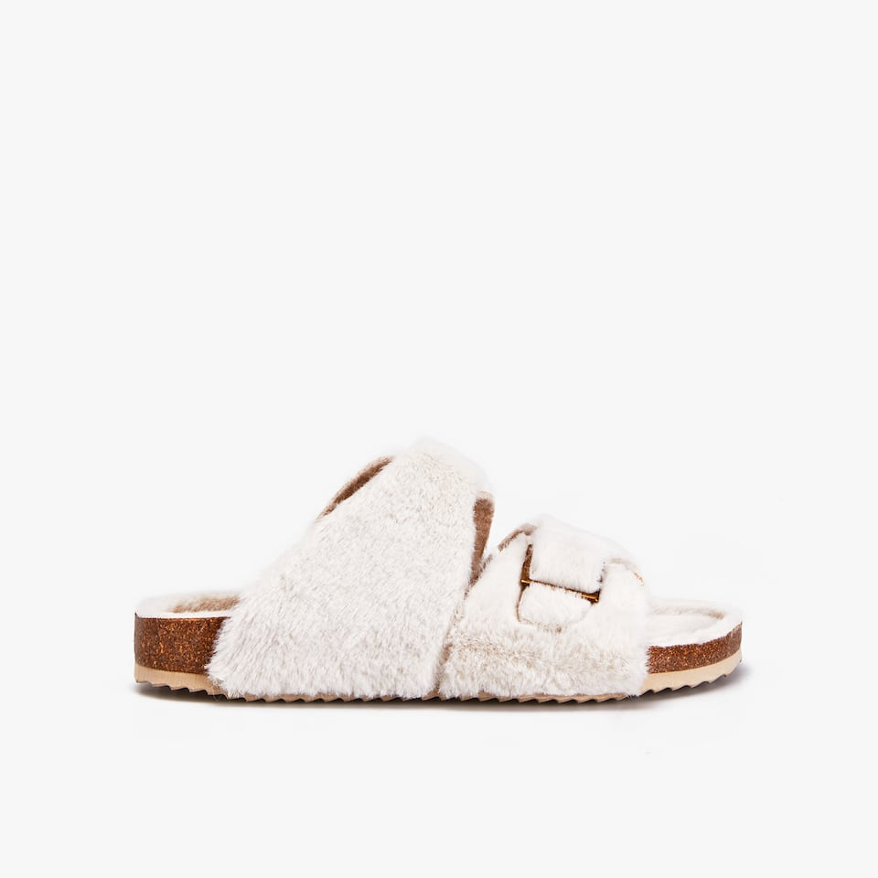 FURRY DOUBLE-BUCKLE SANDALS