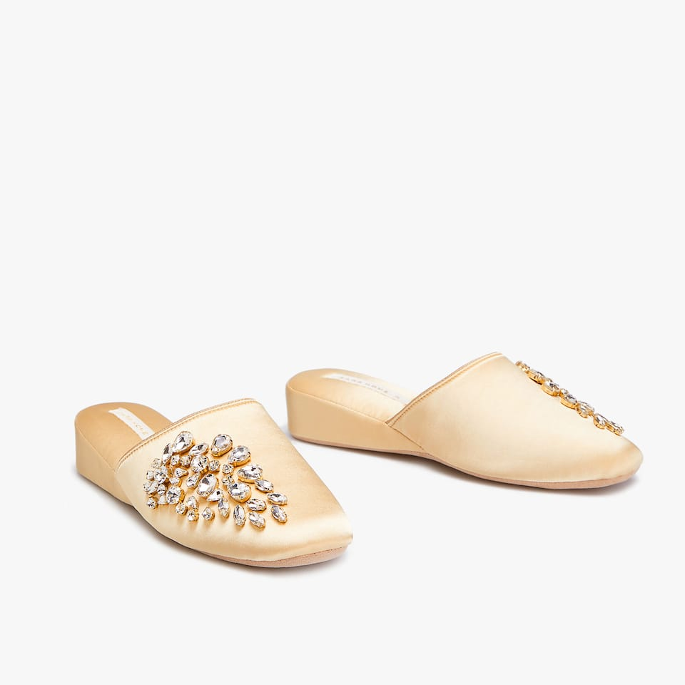 BEJEWELLED WEDGE SLIPPERS