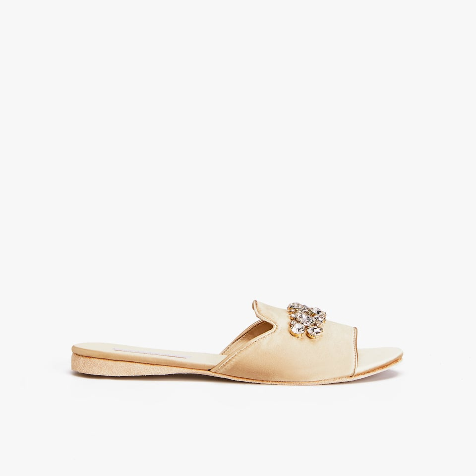 BEJEWELED SATEEN SLIDES