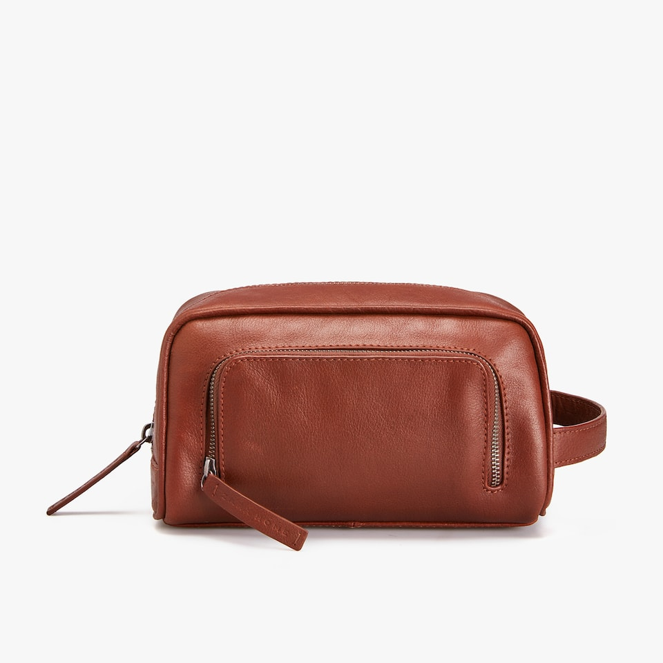 LEATHER DOUBLE COMPARTMENT TOILETRY BAG