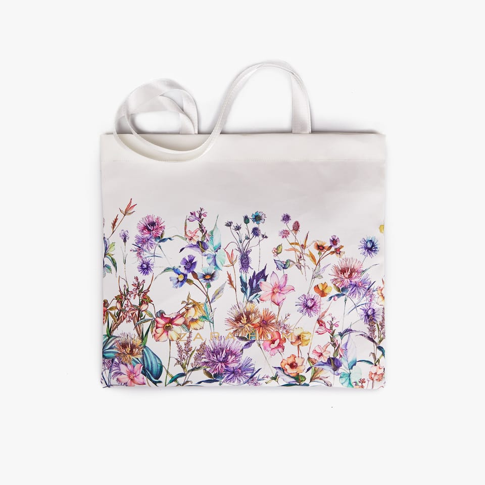 FLORAL PRINT FABRIC TOTE BAG