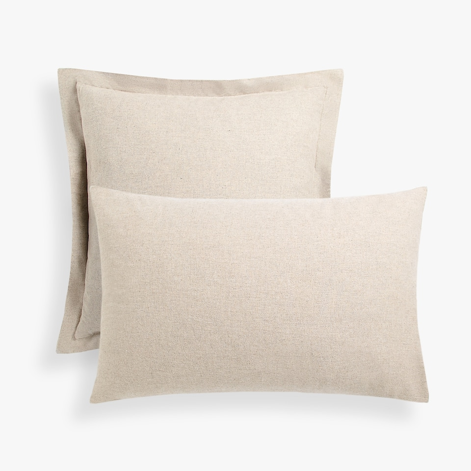 MELANGE-EFFECT FLANNEL PILLOW CASE
