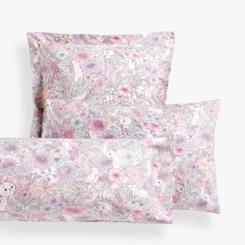 ANIMALS AND FLOWERS PILLOWCASE