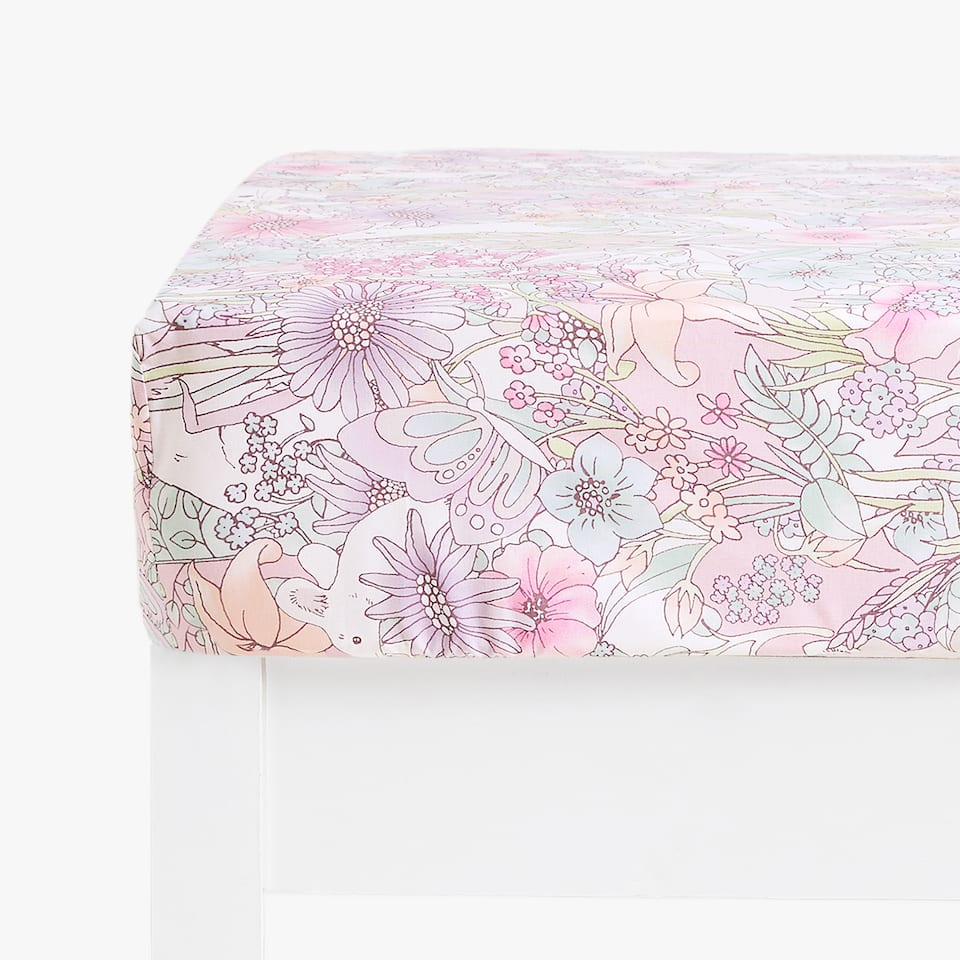 ANIMAL AND FLOWER PRINT FITTED SHEET