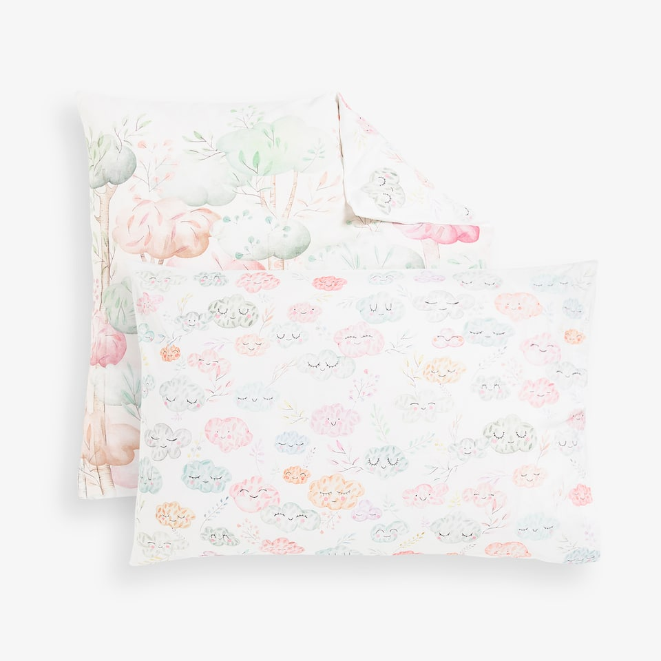 CONTRASTING HOUSES AND CLOUDS PRINT PILLOWCASE