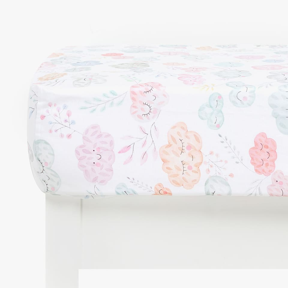 CLOUD PRINT FITTED SHEET