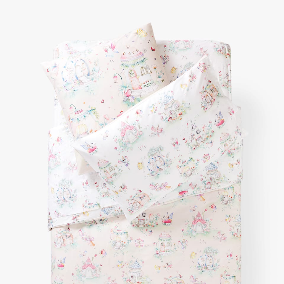 FAIRIES AND HOUSES PRINT DUVET COVER