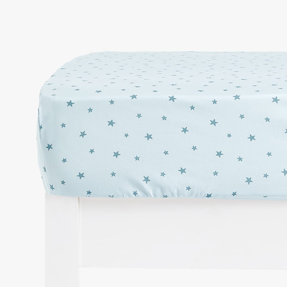 BLUE STAR PRINT FITTED SHEET