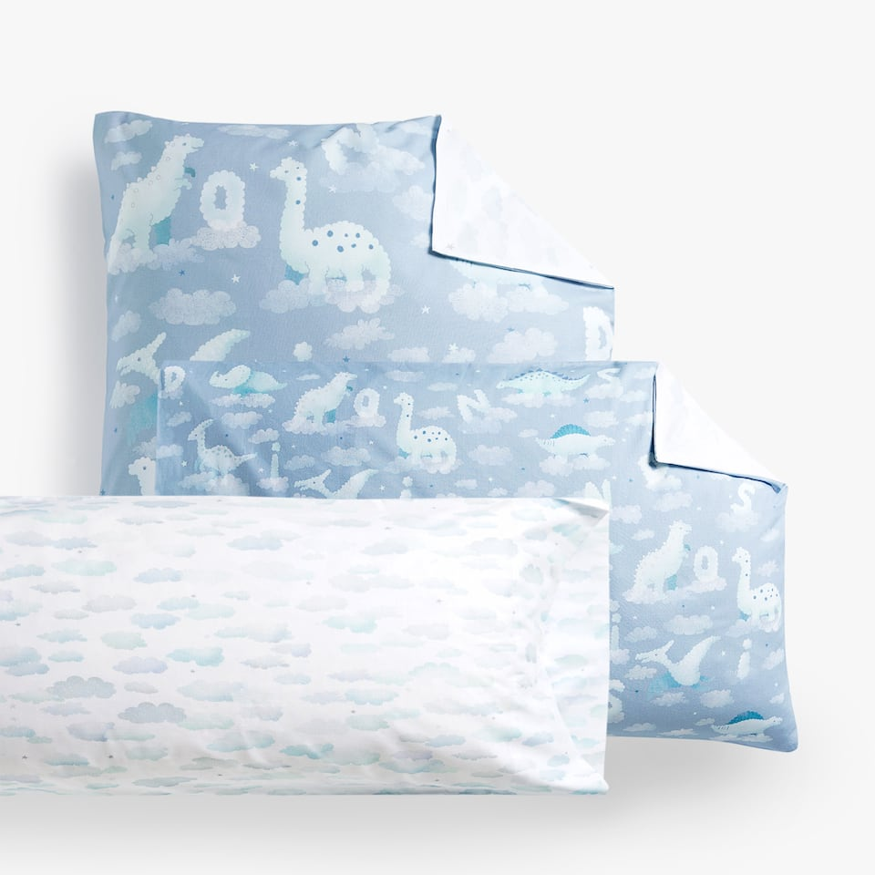 COMBINED DINOSAURS AND CLOUDS PILLOWCASE