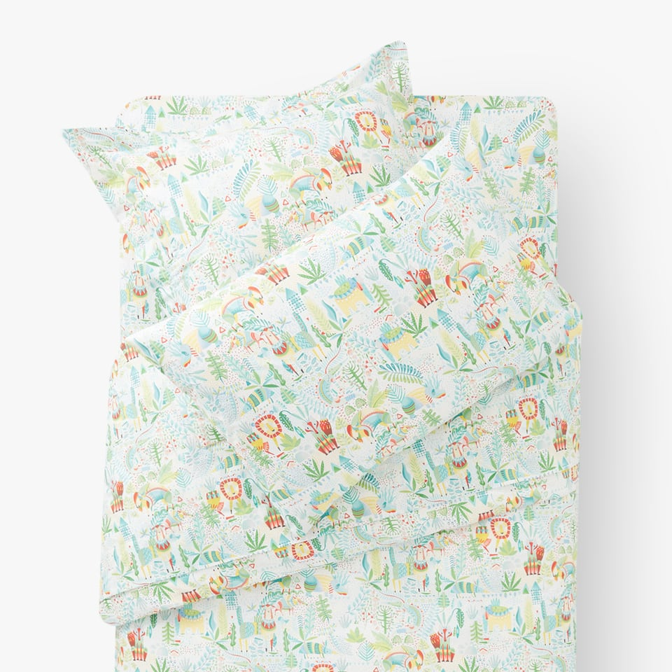 ANIMALS AND LEAVES PRINT DUVET COVER