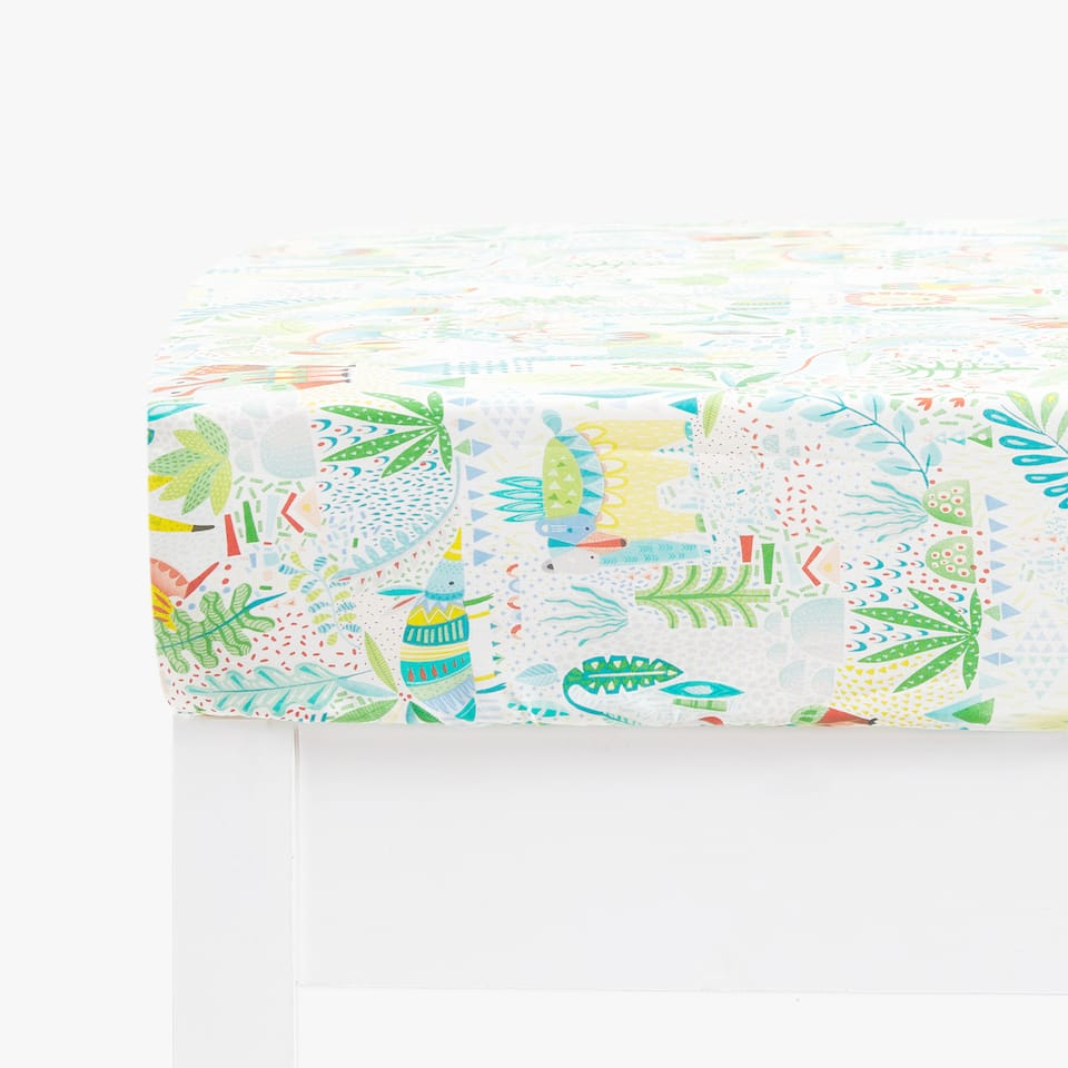 ANIMAL AND LEAF PRINT FITTED SHEET