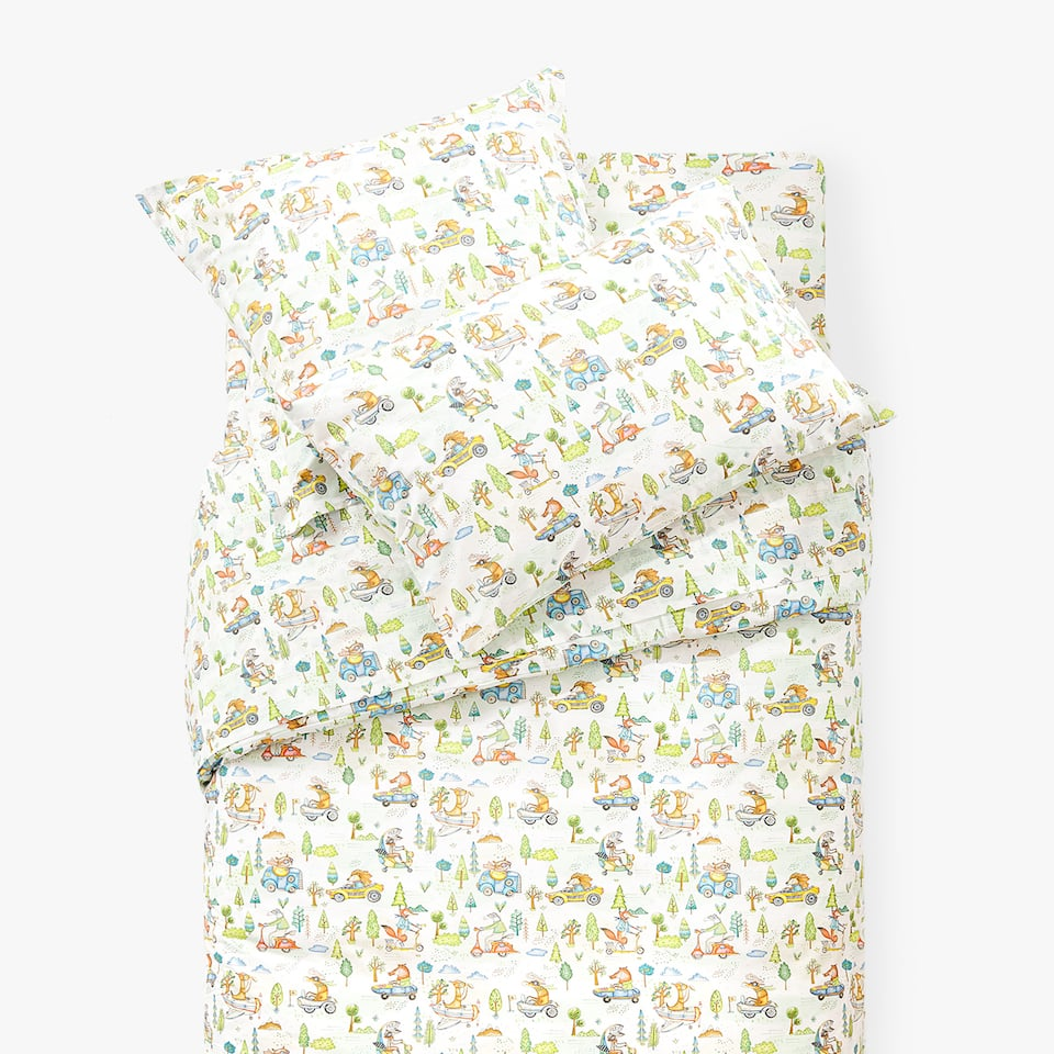 ANIMALS AND CARS DUVET COVER