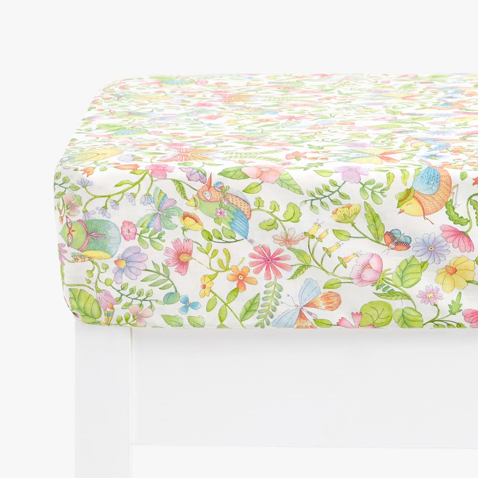 FLOWERS AND BIRDS PRINT FITTED SHEET