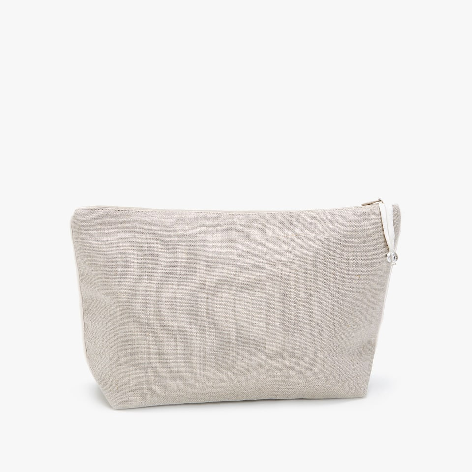 LINEN TOILETRY BAG WITH WHITE EDGE