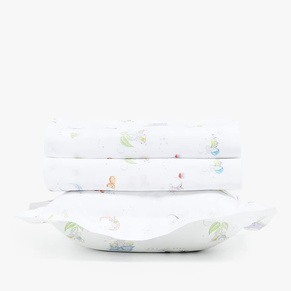 MOSES BASKET AND MINI COT SHEET SET WITH LITTLE MOUSE PRINT