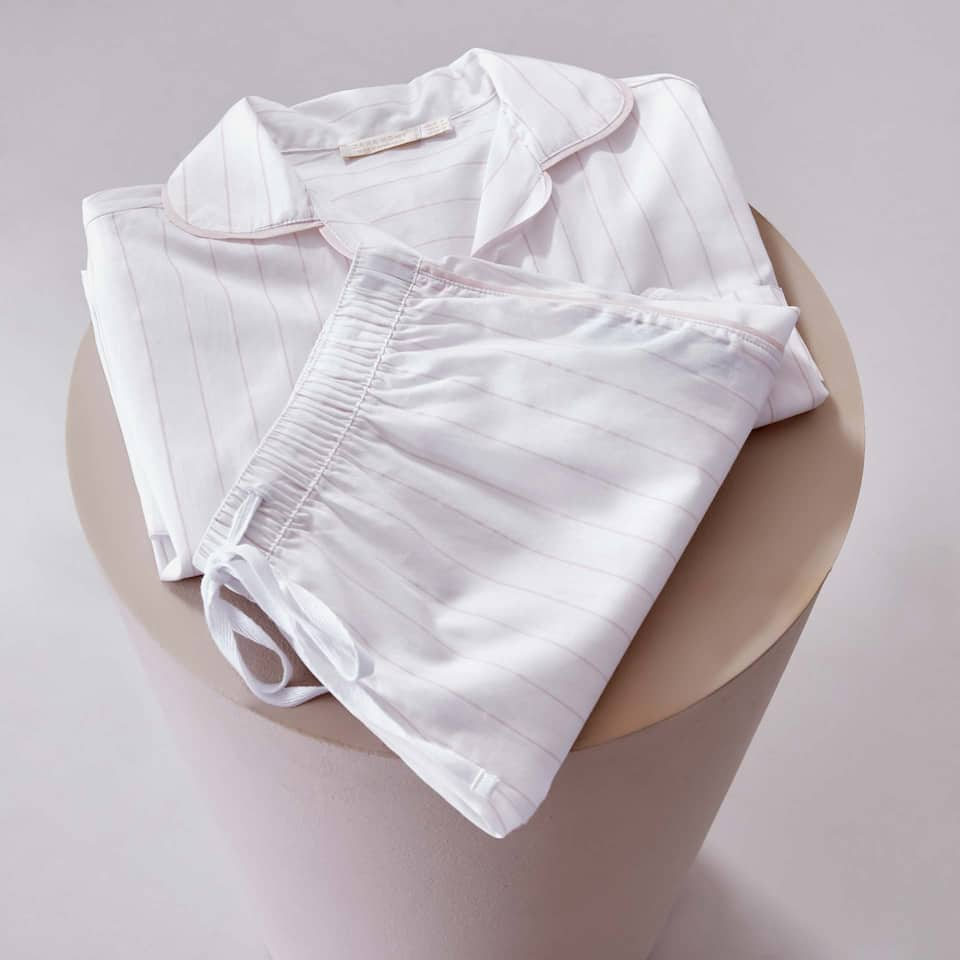 WHITE STRIPED COTTON PYJAMA SET