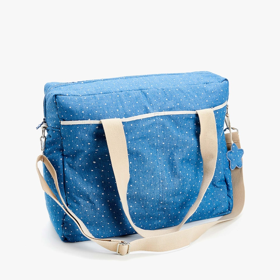 DENIM STAR PRINT BABY BAG