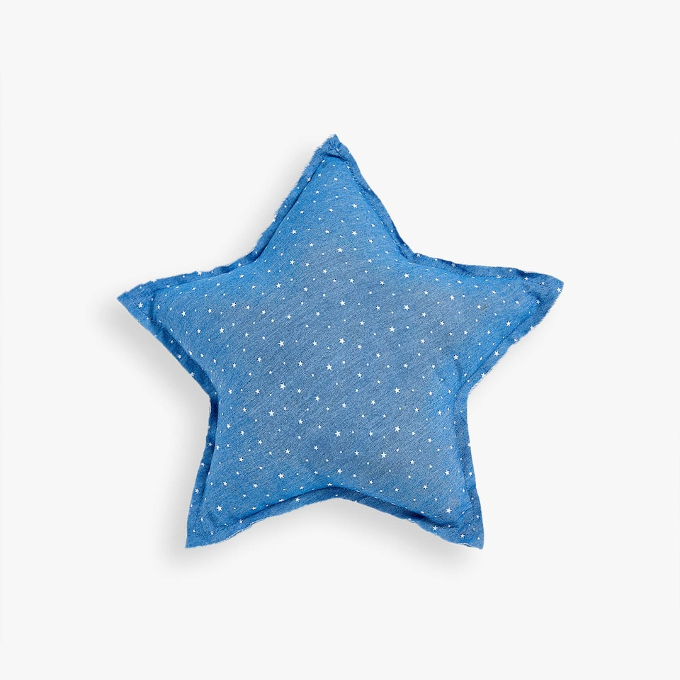 DENIM STAR PRINT CUSHION