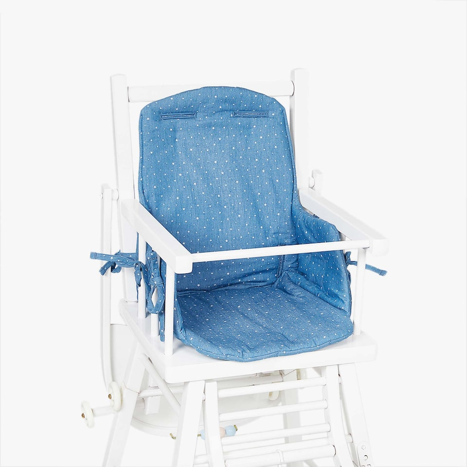 DENIM STAR PRINT HIGH CHAIR CUSHION