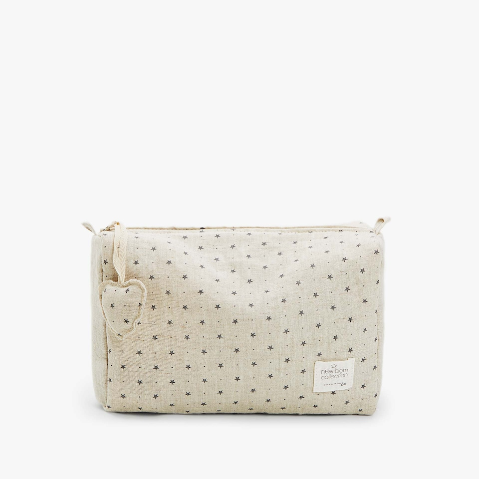 LINEN STAR PRINT TOILETRY BAG
