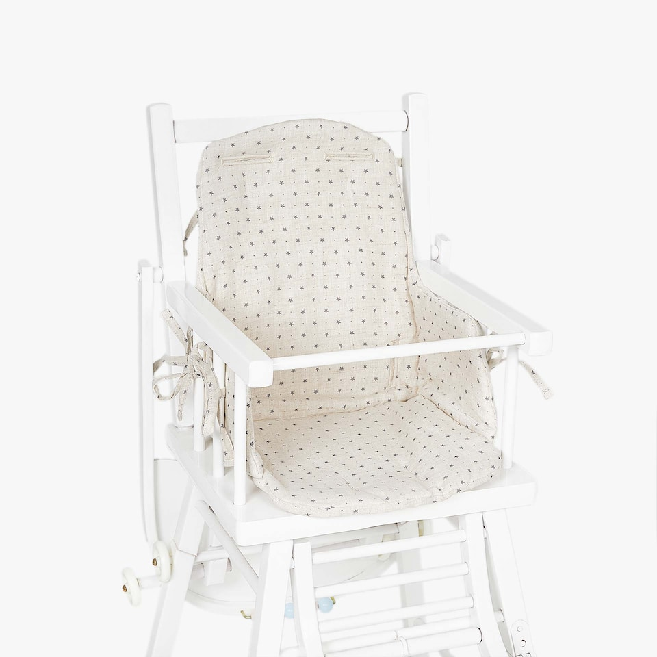 LINEN STAR PRINT HIGH CHAIR CUSHION
