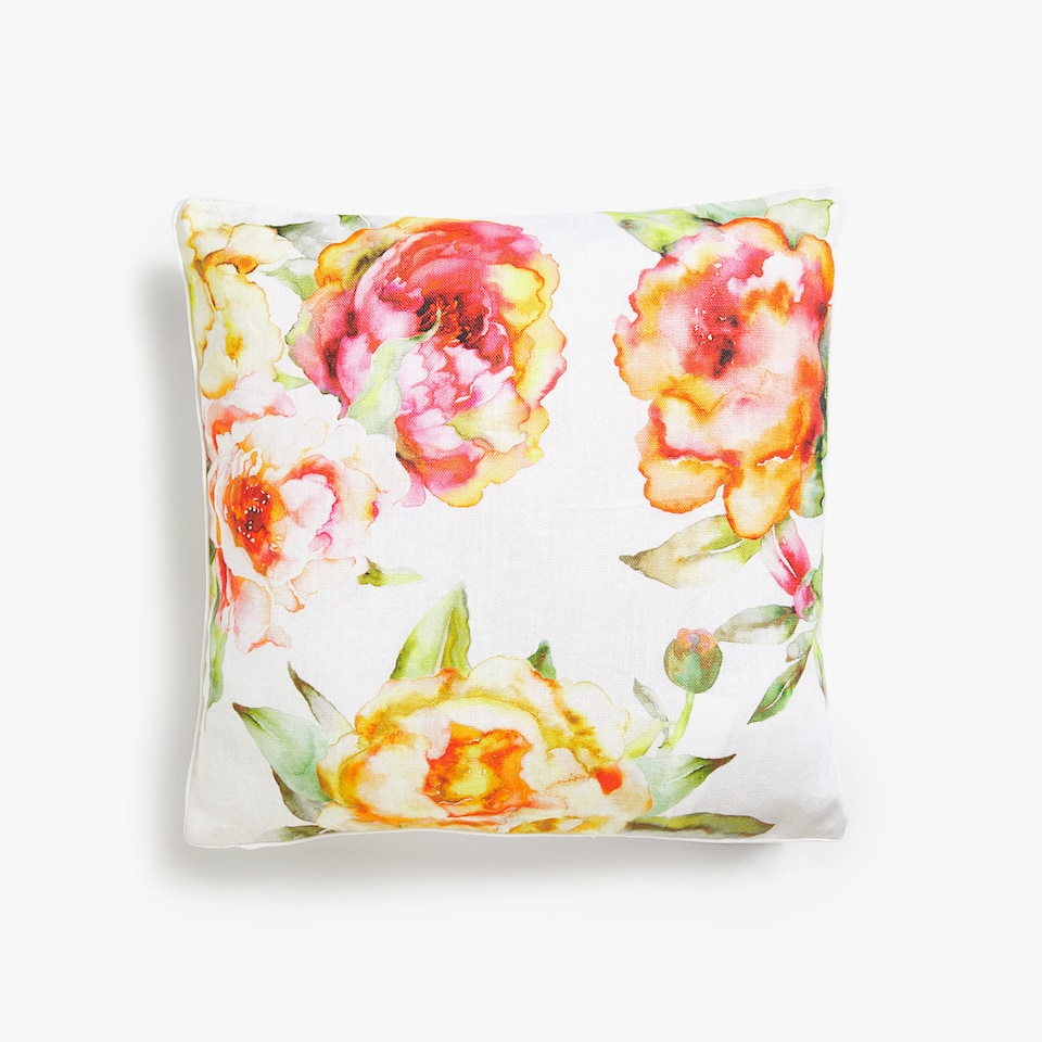 PEONY PRINT THROW PILLOW COVER