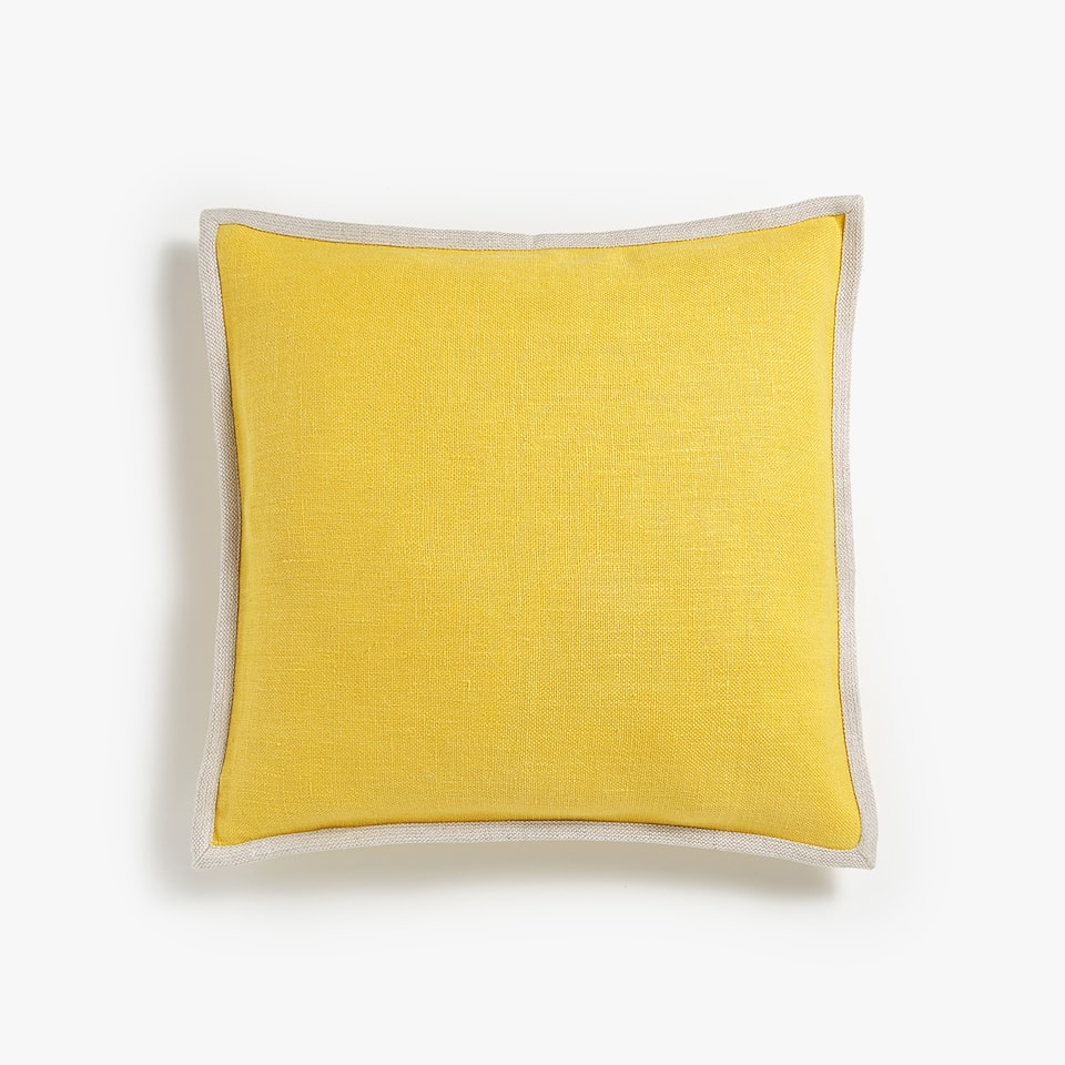 COARSE LINEN THROW PILLOW COVER